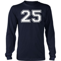 Men's Vintage Sports Jersey Number 25 Long Sleeve T-Shirt for Fan or Player #25