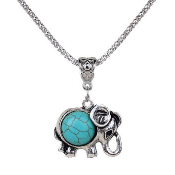 Lovely Necklace Tibet Elephant Shape Round Rimous Turquoise Pendant Chain Jewelry Gift (Color: Green) (With Thanksgiving&Christmas Gift Box)= 1946481988