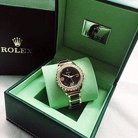 """Rolex"" High Quality Stylish Women Delicate Elegant Diamond Ceramic Quartz Watch Wristwatch Black"