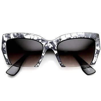 Womens Marbleized Fast Fashion Half Cut Frame Cat Eye Sunglasses 9280