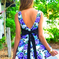 Floral Print Sleeveless Dress with Open Black Bow Back