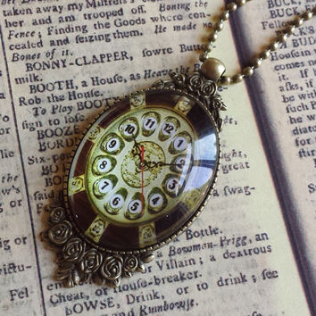 """Clock Face Steampunk Vintage Victorian Style Large Glass & Antiqued Brass Pendant Necklace 27"""" Ball Chain #CLK-10"""