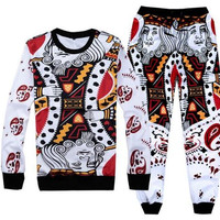 King Of Hearts Printed Streetwear Sweatshirt & Sweatpants Mens & Womens Tracksuit Set Track Suit Jogger Set