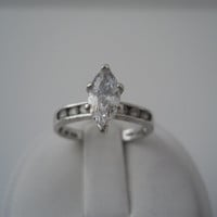 Sterling Silver 925 Marquise Crystal Ring Triple Channel Set Size 7 925