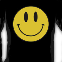 Vintage 90's Grunge Yellow Smiley ACID Rave Face Long Sleeve