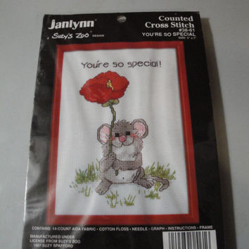 Janlynn Suzy's Zoo You're So Special Mouse With Poppy Flower Small Counted Cross Stitch Kit