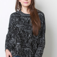 Melange Knit Fringe High-Low Sweater