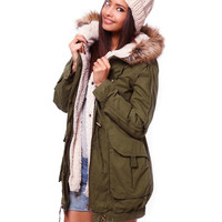 Army Green Faux Fur Hooded Coat