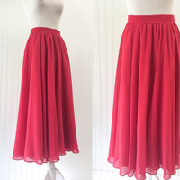 1980s sheer red chiffon full sweep skirt ULTRA draped high waist midi // swishy cocktail pinup // size M