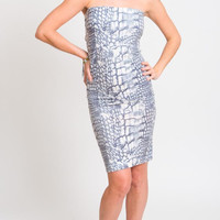 1990's Blue Tube Dress - Vintage 90s Bodycon Snake Print White Disco Party Gown Fitted Stretchy Evening Mid Lenght Dress Size S M L