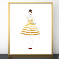"""Printable fashion illustration of a gold stripped summer dress, 8x10"""" & 16x20"""""""