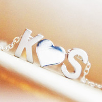 Couples Initial Necklace Personalized Monogram Heart Custom Lovers Necklace Gift for Her Anniversary Wedding Gift