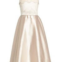 Toddler Girl's Dessy Collection Marquise Lace & Matte Satin Flower Girl Dress