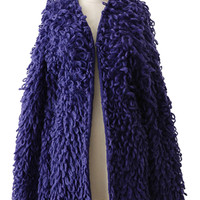 Blue Fluffy Faux Lambswool Chunky Knit Cardigan