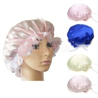 Womens Soft Lace Silk Sleeping Cap Night Wrap Head Cover Bonnet Beanie Hat