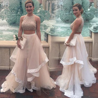 Two Piece Prom Dresses,Prom Dress,Long Evening Dress