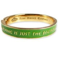 Disney Couture Tinkerbell Believing Green Bangle Bracelet