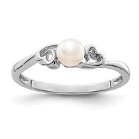 Sterling Silver Freshwater Cultured Pearl June Birthstone Ring