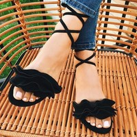 Raine Ruffle Front lace Up Flat Sandals
