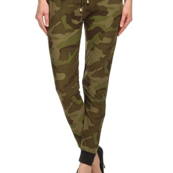 Banded Waist Drawstring Joggers  Military Army Printed Comfy Pant