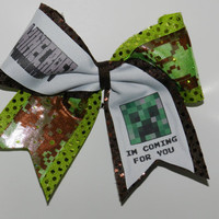 Texas Size Cheer Bow  3 inch base  Minecraft by ABCBows on Etsy