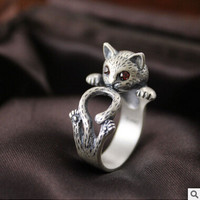 2016 new arrival high quality retro style cute cat Thai silver 925 sterling silver ladies`adjustable size rings jewelry gift