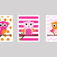 Hot Pink and Orange Owls on Branch, CUSTOMIZE YOUR COLORS, 8x10 Prints, set of 3, Stripes, nursery decor nursery print art baby room decor