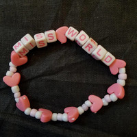 MISS WORLD Hole Courtney Love 90s Grunge Pink Bead Bracelet