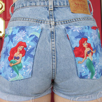 The Little Mermaid Distressed Shorts