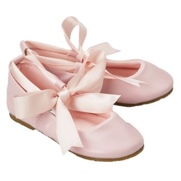 (Sale) Pink Ballet Flats Dress Shoes with Grosgrain Ribbon Tie