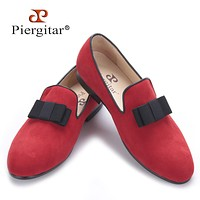 New style red and black color with bow-knot Handmade Men velvet shoes Banquets and Prom men men's Flats