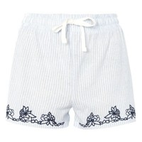 Topshop Embroidered Oxford Stripe Pajama Shorts | Nordstrom