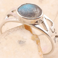 Clear Labradorite Ring in 925 Sterling Silver