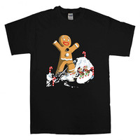 Giant Gingerbread Christmas  For T-shirt Unisex Adults size S-2XL Black and White