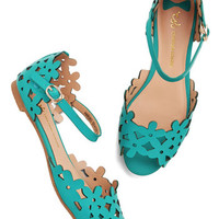 ModCloth Prancing Through the Petals Sandal in Teal