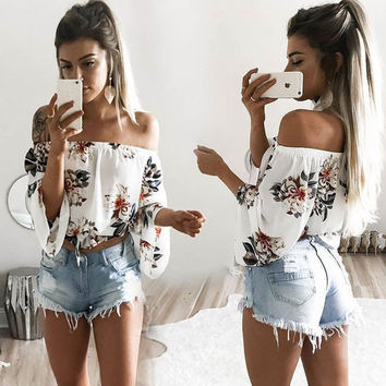 New fashion sexy Casual Flower Print Off Shoulder Long Sleeve T-shirt Tops