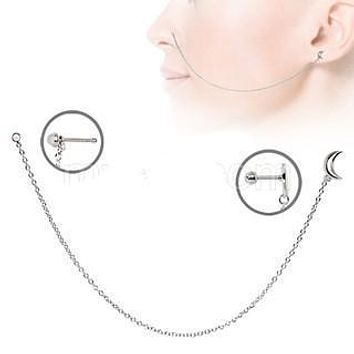 316L Stainless Steel Moon Chain Nose + Cartilage Earring