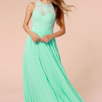 Bariano Best of Both Whirleds Mint Green Lace Maxi Dress