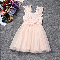 2017 Baby Girl Flowers Dress For Wedding Party Children Princess Costume Kids Baptism clothes 1 Years Birthday Dresses For Girls