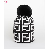 """FENDI"" Fashionable Women Men F Letter Knit Hat Warm Woolen Cap 1#"
