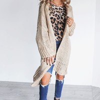 Imagine That Taupe Oversized Knit Duster Cardigan