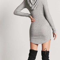 Marled Ribbed Knit Hooded Dress