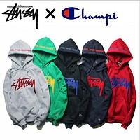 Stussy Studious tide champion champion plus cashmere sweater joint embroidered hooded hedging long-sleeved jacket
