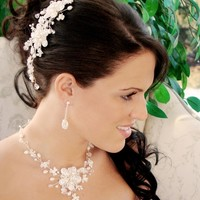 Freshwater Pearl and Crystal Wedding Comb and Jewelry Set