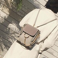 2017 Ladies Circle Ring Chain double zipper Nubuck Leather mini knapsack solid color vintage brand designer women small backpack