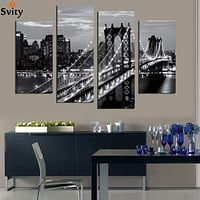 5 pieces Mordern wall picture canvas painting black&white bridge photo print decoration landscape art for living room no frame