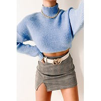 Best Guess Scalloped Knit Sweater (Blue)