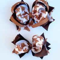 Gingerbread Man Stacked Boutique Hair Bow and Two Toned Bow