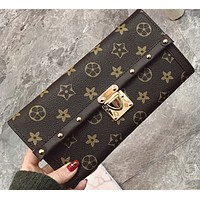 Retro simple long paragraph ladies wallet printing rivets wild buckle wallet handbags evening bag