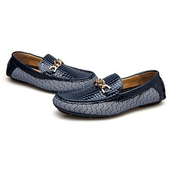 New Genuine Leather Driving Male Loafers Shoes Men Casual Boat Footwear